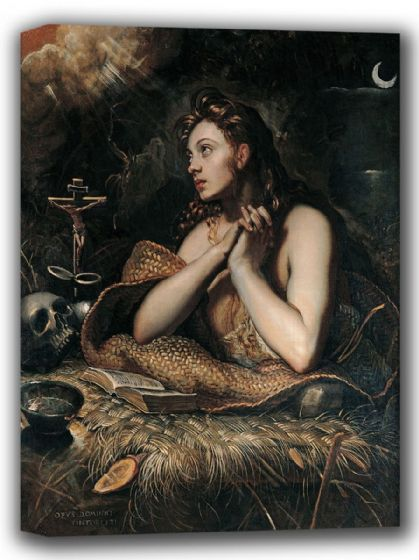Tintoretto, Jacopo Robusti: Penitent Magdalene. Fine Art Canvas. Sizes: A4/A3/A2/A1 (001995)